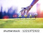 concept of golf ball invitation ... | Shutterstock . vector #1221372322