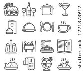 restaurant icons set on white... | Shutterstock .eps vector #1221373912