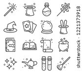 vector line magic icons set.... | Shutterstock .eps vector #1221373918