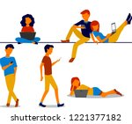 flat designed people and...   Shutterstock .eps vector #1221377182
