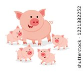 mother pig and piglets | Shutterstock .eps vector #1221382252
