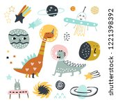 doodle set  dinosaurs  planets  ... | Shutterstock .eps vector #1221398392