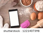 pastry ingredients on a wooden... | Shutterstock . vector #1221407398