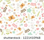 floral pattern in doodle style...   Shutterstock .eps vector #1221410968