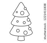 xmas fir tree icon. outline... | Shutterstock .eps vector #1221411838