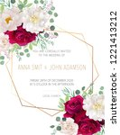 wedding floral  invitation ... | Shutterstock .eps vector #1221413212