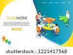 teamwork landing page website... | Shutterstock .eps vector #1221417568