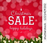 christmas sale card with bokeh... | Shutterstock .eps vector #1221429202
