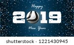 happy new year 2019 banner with ... | Shutterstock .eps vector #1221430945