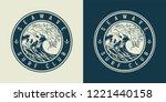 vintage monochrome marine round ... | Shutterstock .eps vector #1221440158