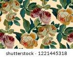 vintage floral seamless... | Shutterstock .eps vector #1221445318