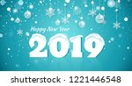 happy new year 2019 text design.... | Shutterstock .eps vector #1221446548