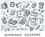 set of hand drawn icons | Shutterstock .eps vector #122145592