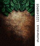 christmas frame made of  fir... | Shutterstock . vector #1221458905