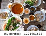 leftover food on the wooden... | Shutterstock . vector #1221461638