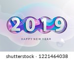 2019 creative happy new year... | Shutterstock . vector #1221464038