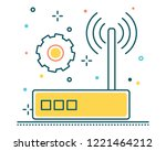 wifi wireless line filled icon... | Shutterstock .eps vector #1221464212