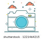 camera line filled icon... | Shutterstock .eps vector #1221464215