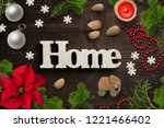 christmas decoration on rustic... | Shutterstock . vector #1221466402