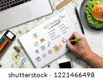 hand is writing a seo strategy... | Shutterstock . vector #1221466498
