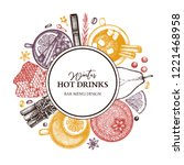 hot drinks bar menu. vector... | Shutterstock .eps vector #1221468958
