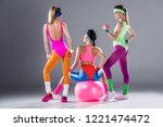 back view of sporty young women ...   Shutterstock . vector #1221474472