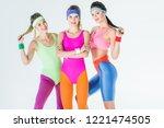 beautiful athletic girls in 80s ...   Shutterstock . vector #1221474505