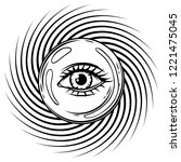 magic ball with all seeing eye...   Shutterstock .eps vector #1221475045