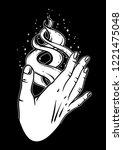 open hand with magic fire....   Shutterstock .eps vector #1221475048