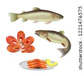 set of two fish with steaks and ... | Shutterstock .eps vector #1221476575
