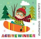 winter poster with boy on...   Shutterstock .eps vector #1221478372