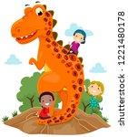 illustration of stickman kids... | Shutterstock .eps vector #1221480178