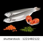 salmon fish with steaks  red... | Shutterstock .eps vector #1221482122