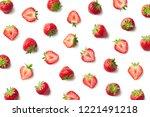 pattern of strawberries... | Shutterstock . vector #1221491218
