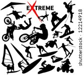 Vector eXtreme sport silhouettes. (High Detail) Easy change colors. - stock vector
