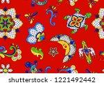 mexican seamless pattern.... | Shutterstock .eps vector #1221492442