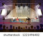 talk show concept with three... | Shutterstock .eps vector #1221496402