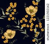 retro wild seamless flower... | Shutterstock .eps vector #1221502162