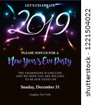 new years 2019 invitation with...   Shutterstock .eps vector #1221504022