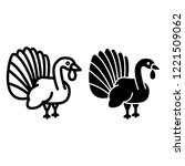 turkey line and glyph icon.... | Shutterstock .eps vector #1221509062