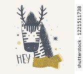 cute zebra with deer horns.... | Shutterstock .eps vector #1221511738