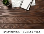 overhead shot of office desktop | Shutterstock . vector #1221517465