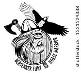 norse warrior berserker. viking ...   Shutterstock .eps vector #1221524338