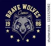 wolf mascot grunge emblem... | Shutterstock .eps vector #1221525082
