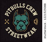 pitbull mascot emblem design...   Shutterstock .eps vector #1221525088