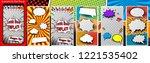 pop art template for social... | Shutterstock .eps vector #1221535402