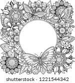 floral nature frame in doodle...   Shutterstock .eps vector #1221544342