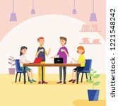 enjoyed meeting in co working... | Shutterstock .eps vector #1221548242