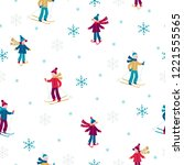 christmas seamless pattern with ... | Shutterstock .eps vector #1221555565