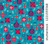 christmas seamless pattern with ... | Shutterstock .eps vector #1221555568
